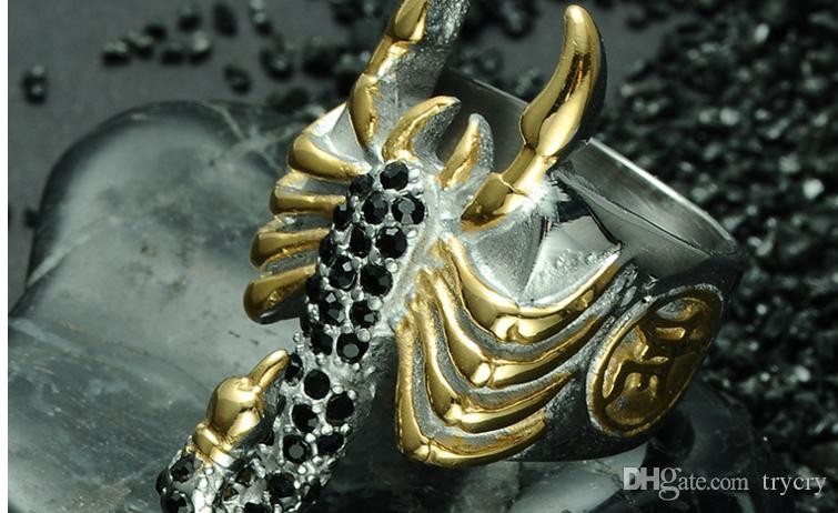 Punk Two Tone Gold Color Micro Pave Black Stone Titanium Stainless Steel Biker Scorpion Rings for Men Jewelry