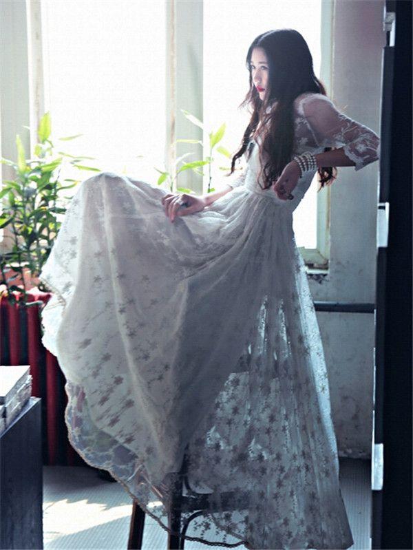 Elbiseler Toptan 2015 Maxi Elbise Baskı Foral Süper Retro Dantel Elbise Manuel Salıncak Mizaç Tanrıça Plaj 3/4 Kollu Yaz Elbiseler