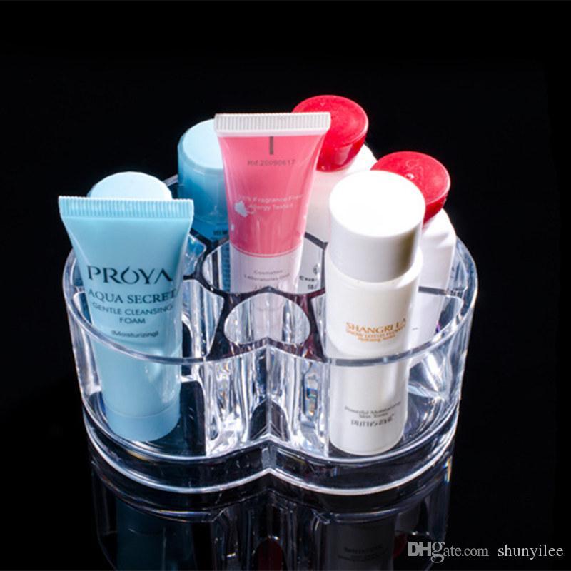 Creative Home Desktop Storage Box Acrylic Heart-shaped makeup box Organizer Cosmetic rack &Jewelry case F20172400