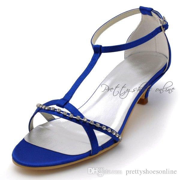 Navy blue low heel wedding bridal shoes t strap opened toe ankle see larger image junglespirit Choice Image