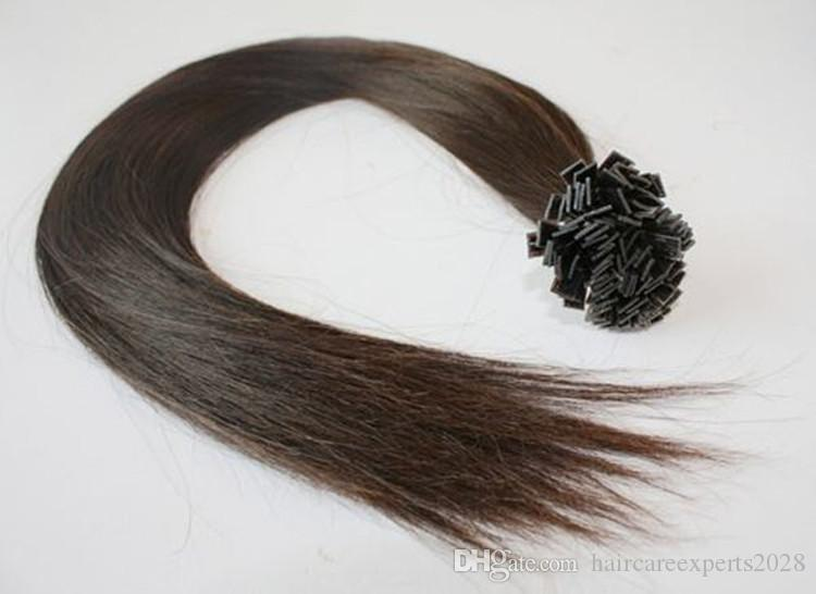 "5A- grade 1g /s 100g/pack Indian remy Italian keratin flat tip hair extensions 16""-26"" 4# medium brown dhl"