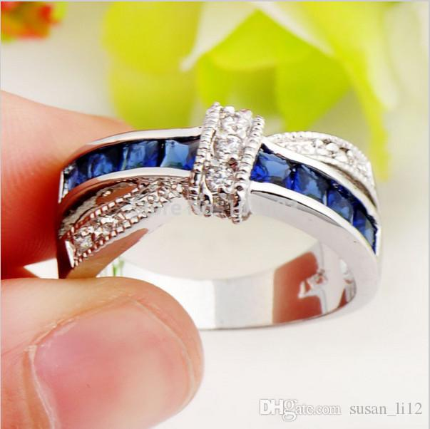 Новый в 2014 мода ювелирные изделия Леди 10kt белого золота кольцо с сапфировым пальцем женщин кольца Size6/7/8/9/10
