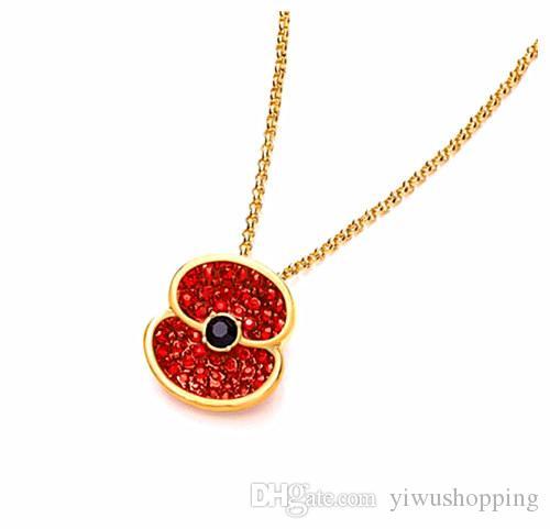 Fashion Jewelry 2015 Newest Gold Tone With Red Crystal Rhinestone Flower Poppy Necklace Pendants Jewelry Set