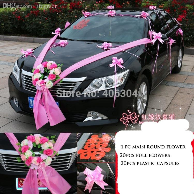 Wholesale Wedding Car Flower Decoration Set Redpinkpurple Main