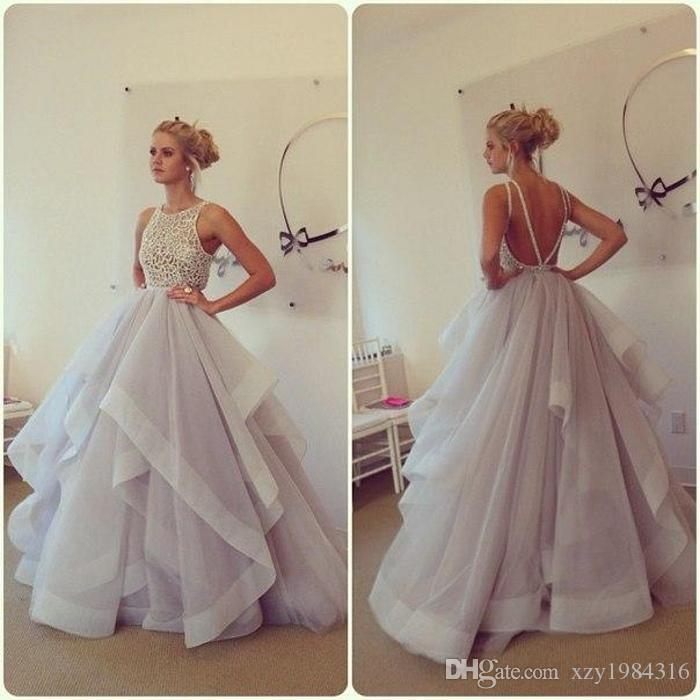 Romantic Light Purple Wedding Dressers Plus Size Crew Applique Beaded  Bodice Tiered Ruffles Ball Gown Wedding Dress Backless Bridal Gowns Wedding  Dresses ...