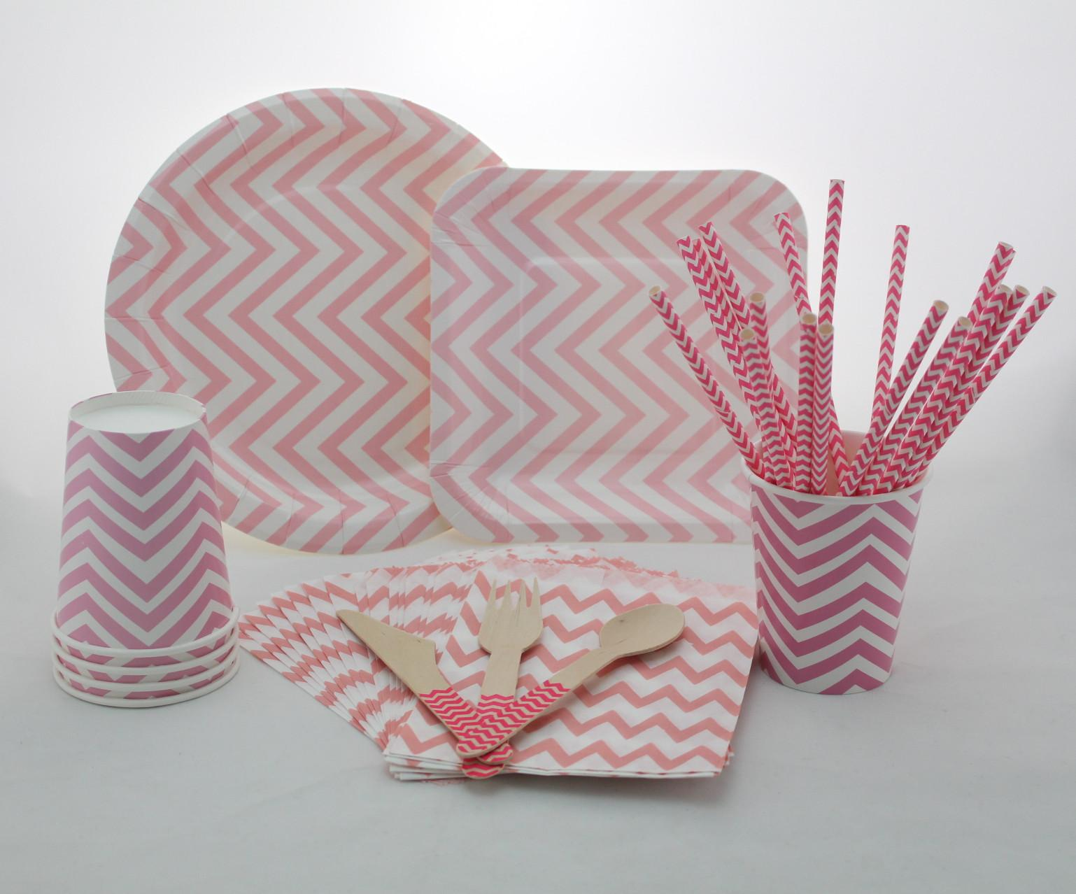 2018 Pink Chevron Tableware SetWedding Party Paper Plates Cups Straws NapkinsParty Disposable Wooden Forks Spoons Knives From Productsforparty ... & 2018 Pink Chevron Tableware SetWedding Party Paper Plates Cups ...