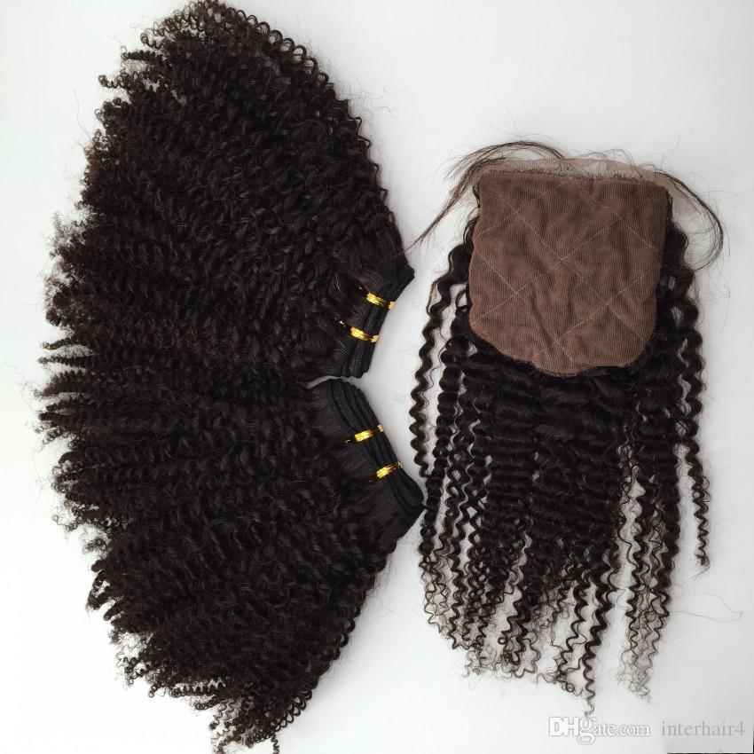 Braziliaanse Kinky Krullend Haarbundels met Silk Sluiting 10-24 '' 8A onbewerkt Braziliaanse Virgin Haar Krullend Golvende Extension Weeft /
