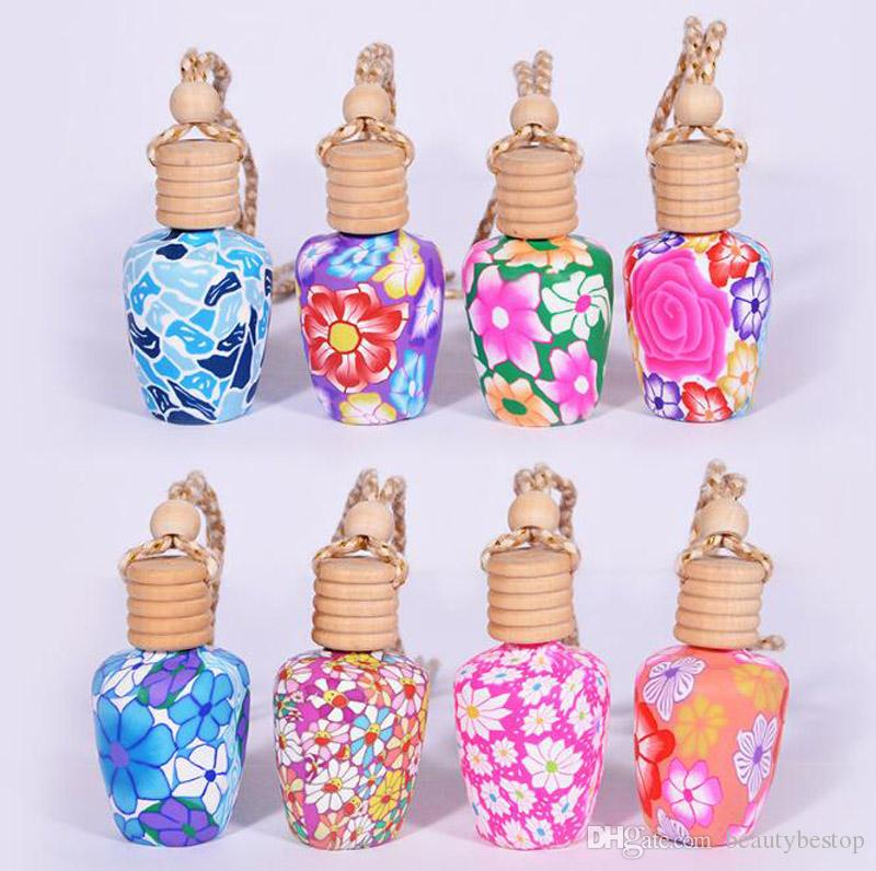 Best-Preis 15ml Mix Farbe Auto-Fall-Dekoration-Anhänger Keramik Ätherische Öle Parfüm Empty Bottle Keramik Falseil Flasche durch DHLfreies