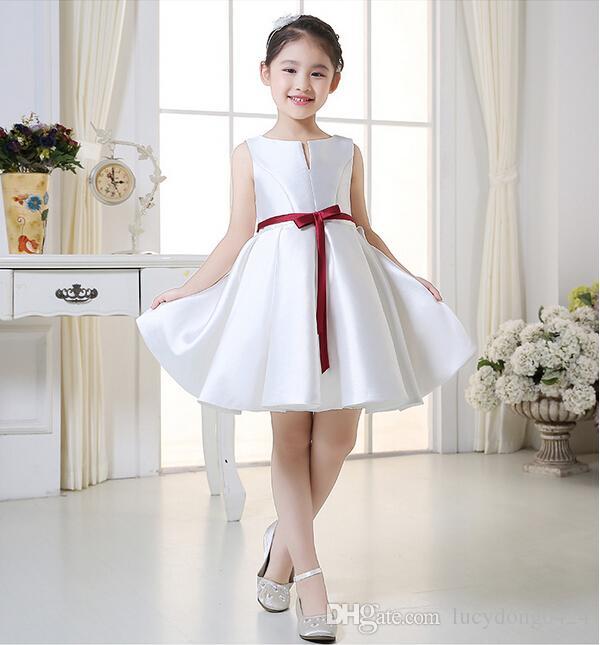 White Christmas Flower Girl Dresses 2016 Knee Length Bateau Beach ...
