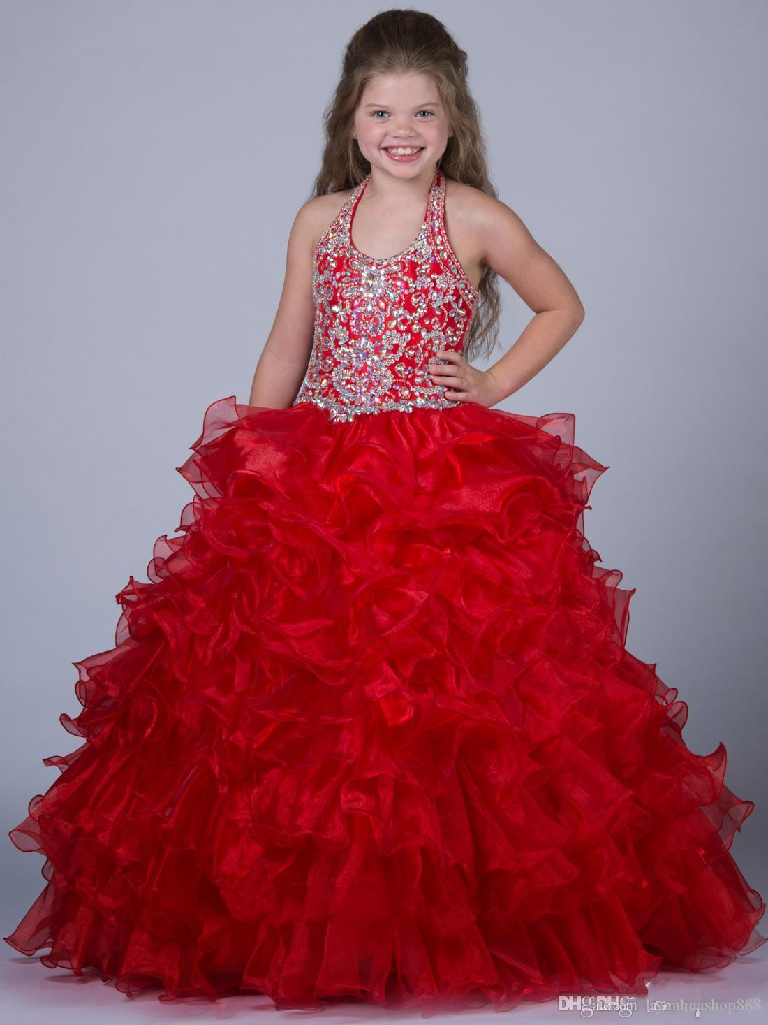Sexy Jade Little Rosie Girls Pageant Prom Dresses Halter Backless Ball Gown Tiered Flower Girl Abiti da sposa Junior Bridesmiad