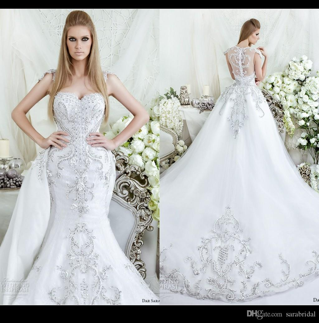 Luxury Sparkle Mermaid Wedding Dresses 2016 Square Neck Full Beads ...