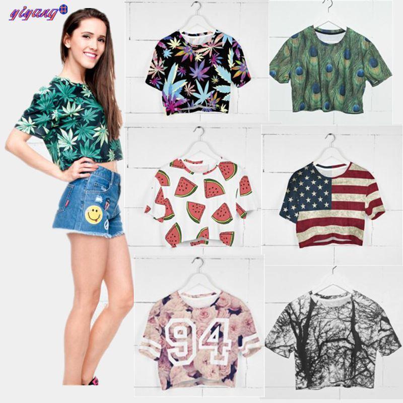 hot new t shirt women crop top harajuku summer cropped