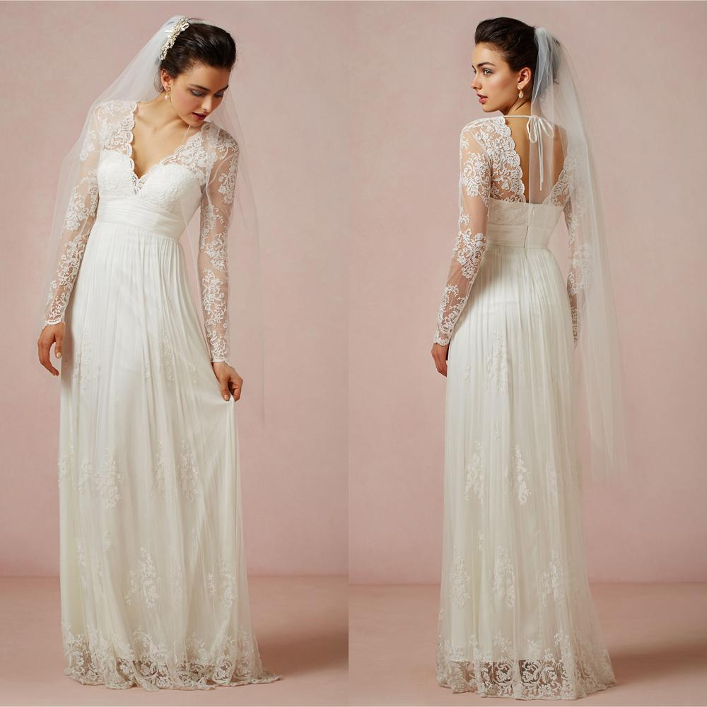 Discount 2015 Greek Lace Beach Long Sleeve Wedding Dresses A Line V ...