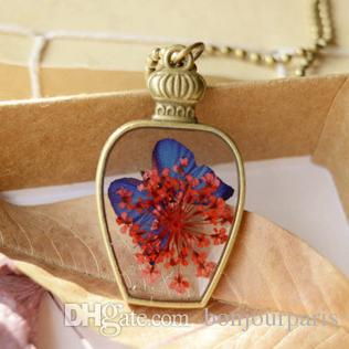 Red Flowers Royal Blue Butterfly in Bronze Bottle Pendant Necklaces Vintage Long Bronze Round Beads Chains for Costume Birthday Gifts nxl044