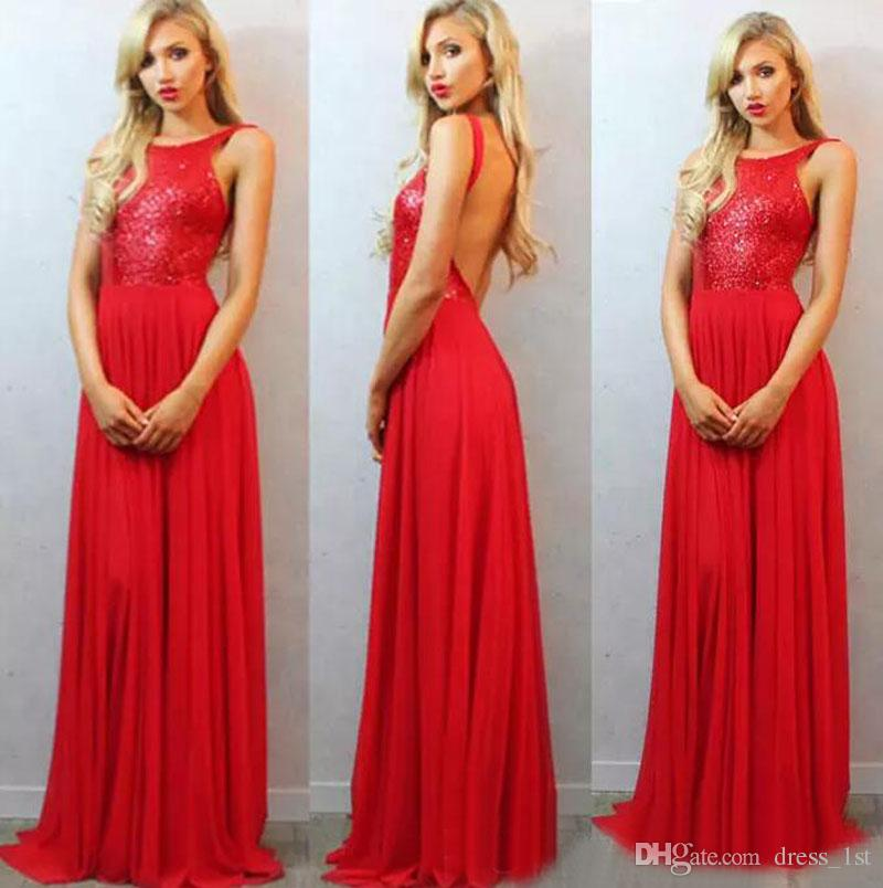 086dd486c6 Sexy 2017 Red Sequined Top Chiffon Skirt Prom Dresses Long Cheap Bateau  Backless Formal Dresses Party Evening Wear Custom Made EN11097 Prom Dress  On Sale ...