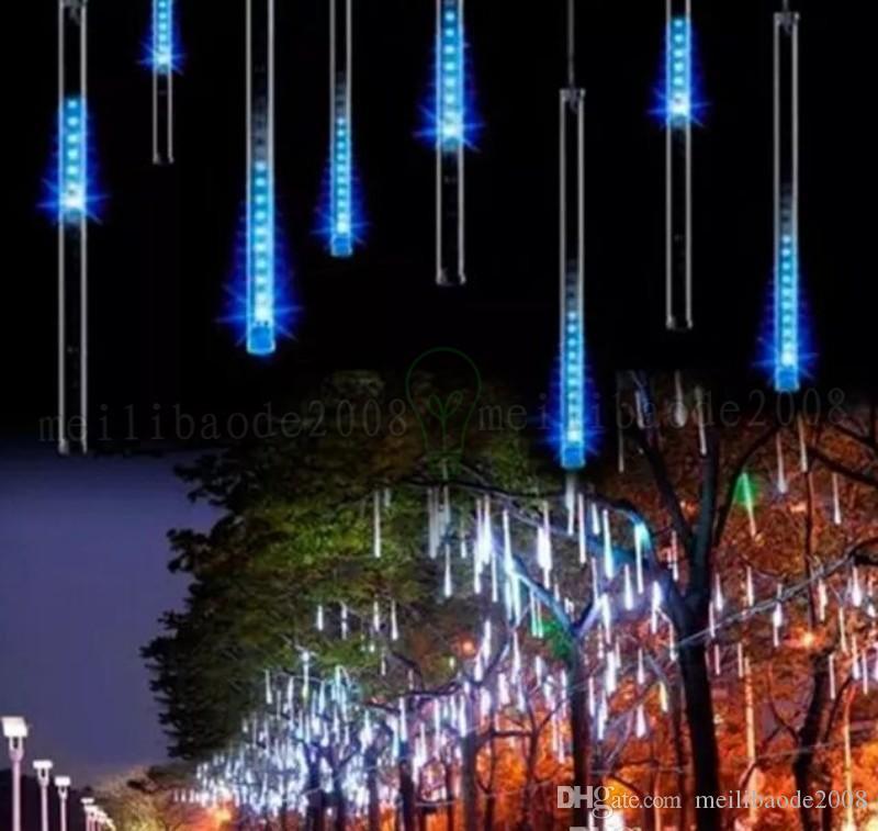 Новый многоцветный красочные 30 см 8 шт. / компл. светодиодные Метеор трубки дождь душ свет снегопад трубки свет водонепроницаемый с адаптером питания MYY