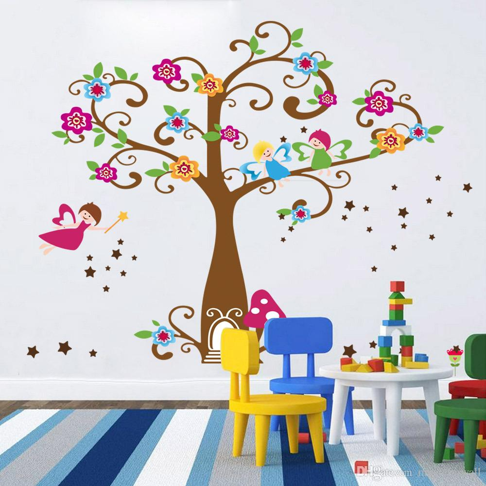 Little Elf Magic Tree House Wall Decal Stickers Decor for Kids Room Nursery Playroom Home Decorative Mural Art Stickers