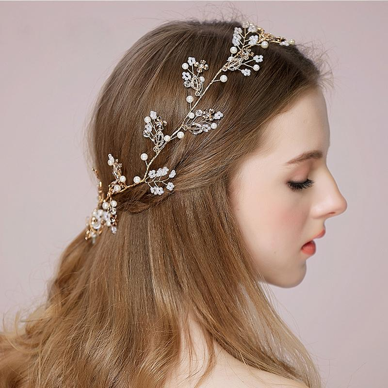 Cheap Wedding Hair Vines For Brides Tiaras Bridal Accessories Combs Weddings Headband Rhinestone Adornments High Quality