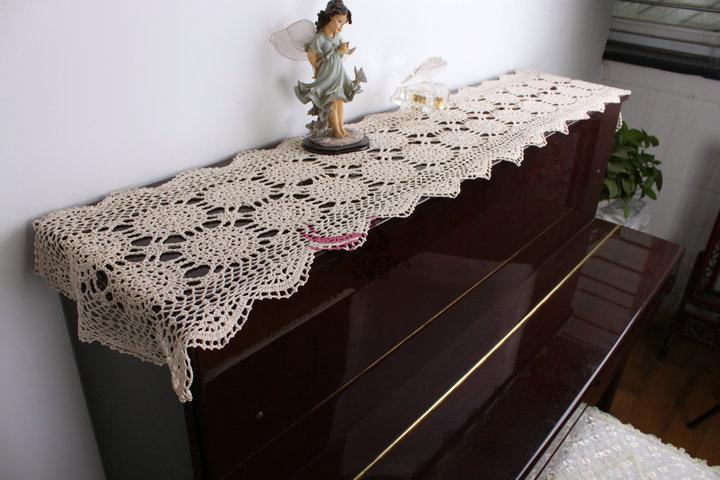 Free Shipping Beige Cotton Crochet Lace Table Runner For Home Decor Stain Table  Runner Table Cloth Cover Piano Cover Towel