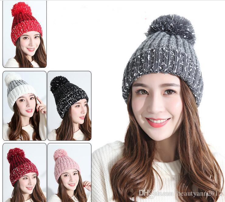 1660c441cd264 Cute Women Winter Warm Hat Knitting Wool Cap Soft Crochet Knitted Wool Fur  Beanie Pompom Ball Adjustable Hat 2017 New Beany Wholesale Hats From ...