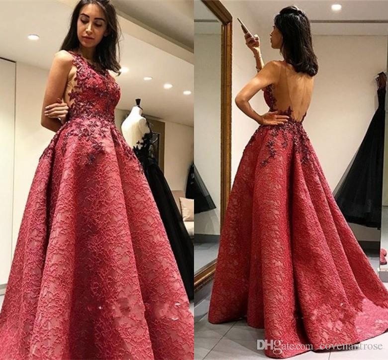 dba77c4c947d6 Vintage Dark Red Lace Evening Dresses Scoop Backless Appliques Prom Dress  Plus Size Party Gowns For Women Cheap Evening Dresses Online Designer Gowns  Online ...