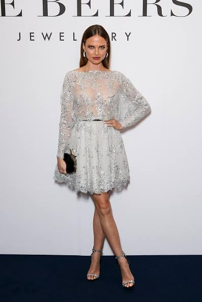 Zuhair Murad Silver Lace Applique Bead Celebrity Evening Dresses Bateau Long Sleeve A-Line Short Party Prom Dress Gowns With Sash Exquisite