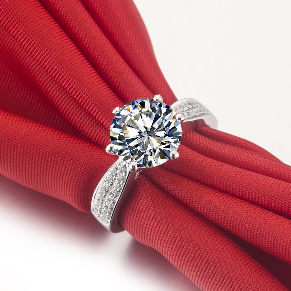2 ct synthetischer Diamant Ring Sterling Silber Hochzeit Bänder für Frauen Verlobungsringe für Frauen Weißgold 18k Drop-Shipping