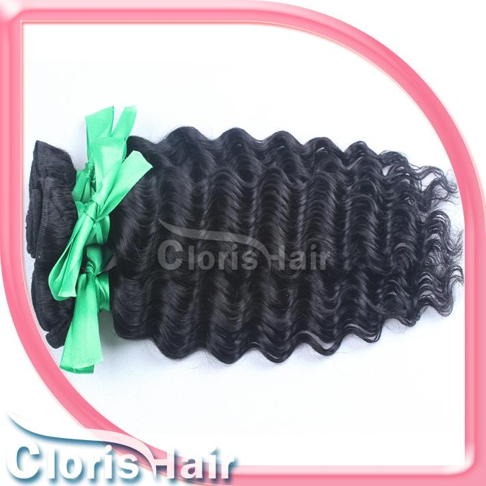 Top-rated Raw Indian Virgin Deep Wave Curly Hair Weave Unprocessed Deep Curls Human Hair Extensions Cheap 1 Bundle Indian Weft 1b#