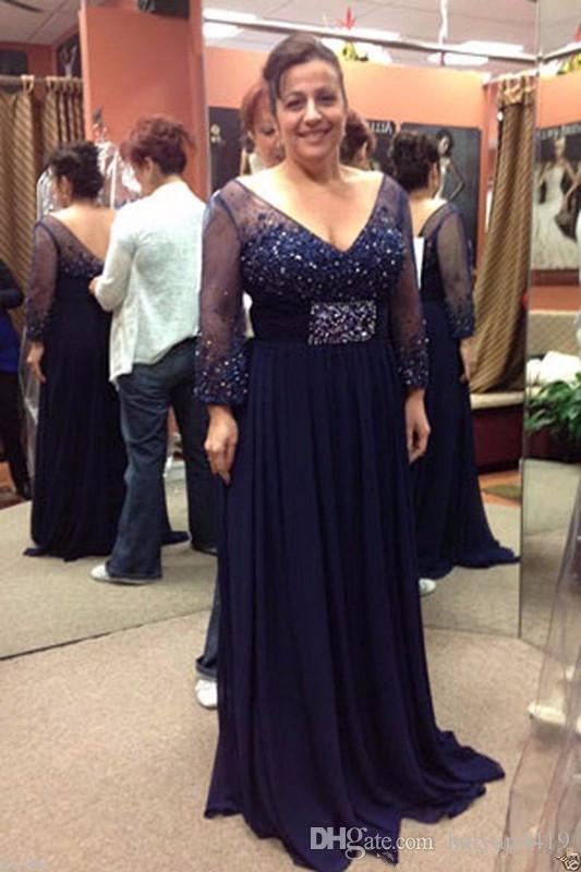 2018 Mother Of The Bride Dresses Navy Blue V Neck Beading Sash Crystal Long Sleeves Low Back Chiffon Long Evening Wear Prom Dresses