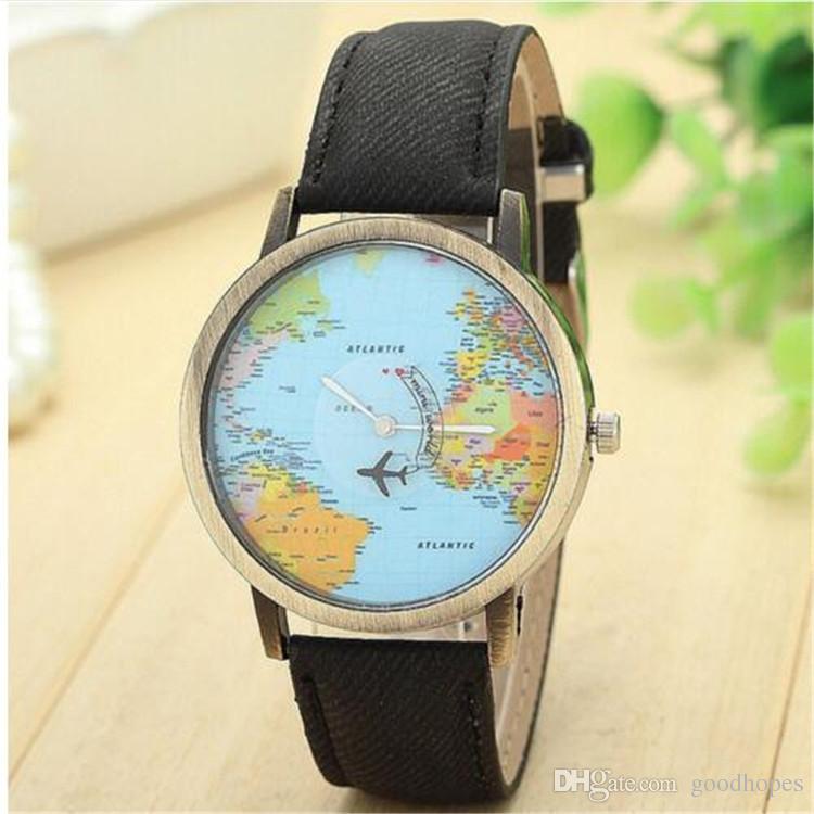 Vintage Dünya Haritası Düzlem Saatler Erkekler Kadınlar Unisex Denim Kayış Kuvars Saatler Düzlem Tarafından Saatler Seyahat Baskı Saatler