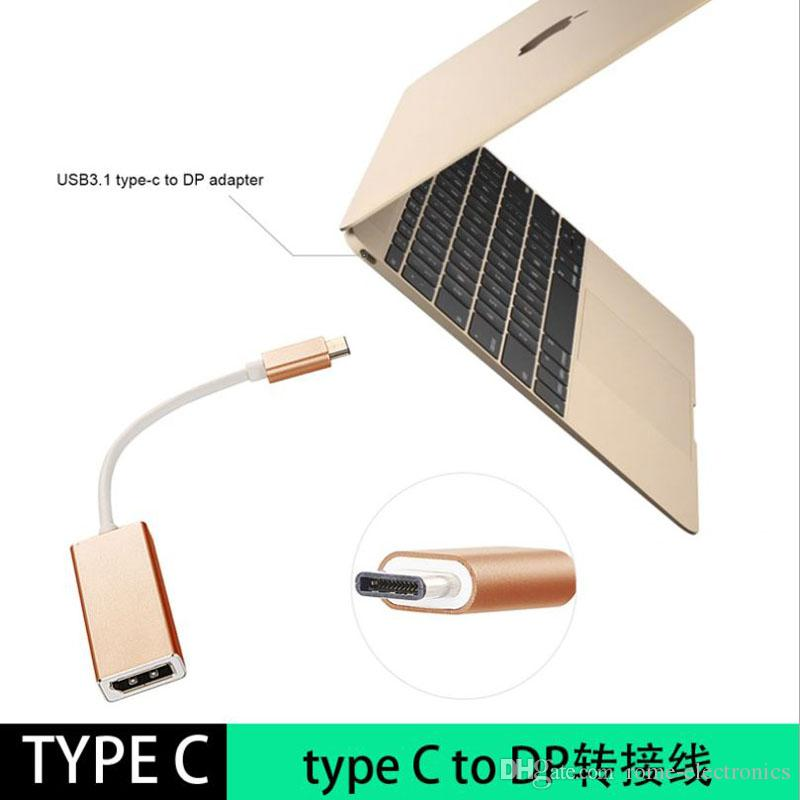 USB 3.1 Type-C to DisplayPort Adapter Cable Support 4K output Aluminium Case USB-C to DP Female for New Macbook ChromeBook Pixel