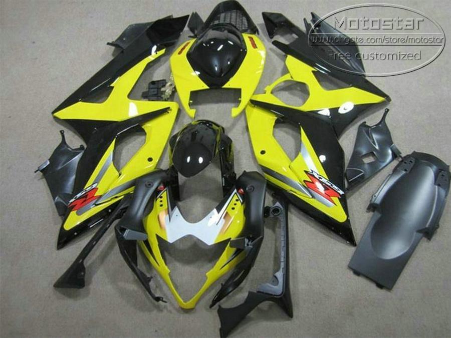 SUZUKI 2005 2006 GSXR1000 K5 K6 검은 색 노랑색 GSX-R1000 05 06 GSXR 1000 페어링 키트 TF96