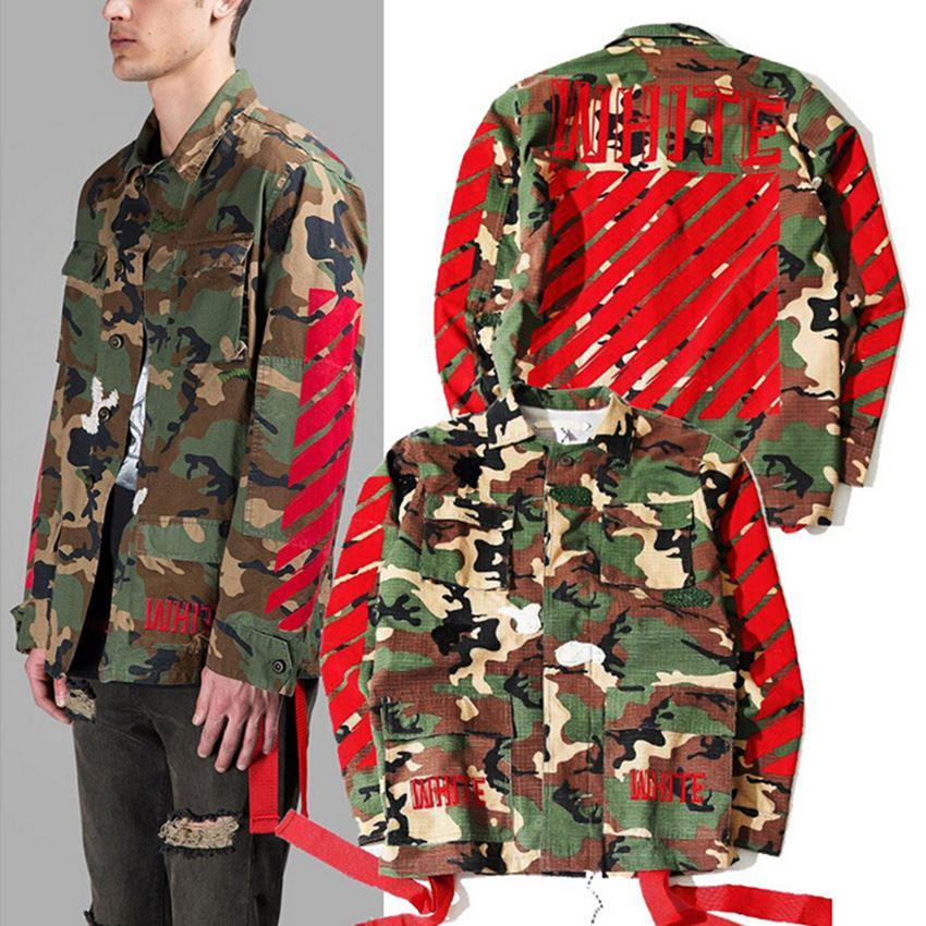 4e59031a3cbe Off White Jacket Men OFF WHITE VIRGIL ABLOH Camouflage Justin Bieber  Clothes Camo Military Jackets Off White Jacket Biker Jacket Brown Leather  Jacket From ...
