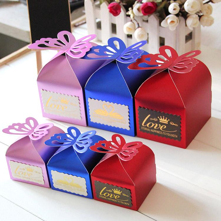 Red Royal Blue Party Supplies Wedding Favors Boxes Guests Gift 2015