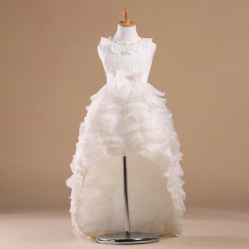 2016 Beyaz Prenses Çiçek Kız Pageant Elbise Çocuklar Tül Kat Uzunluk Communion Düğün Parti Elbisesi