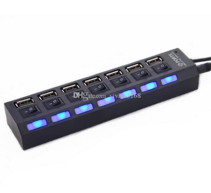 Siete puertos USB 2.0 HUB Power Charger Splitter Strip para PC portátil Disco flash ON OFF Interruptor LED luz usb Hubs con caja al por menor