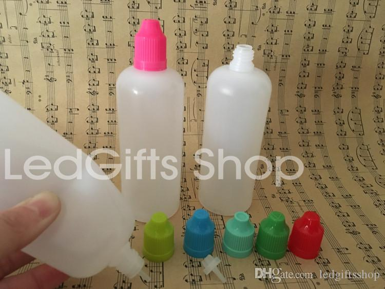 De haute qualité Livraison rapide 120ml Bouteilles en plastique Bouteilles vides E liquide en plastique avec Dropper bouchons de bouteille et l'épreuve des enfants Conseils aiguille