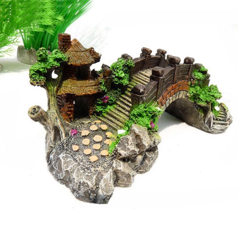 Online cheap aquarium aquatic plants rockery bridge for Cheap fish tank decorations