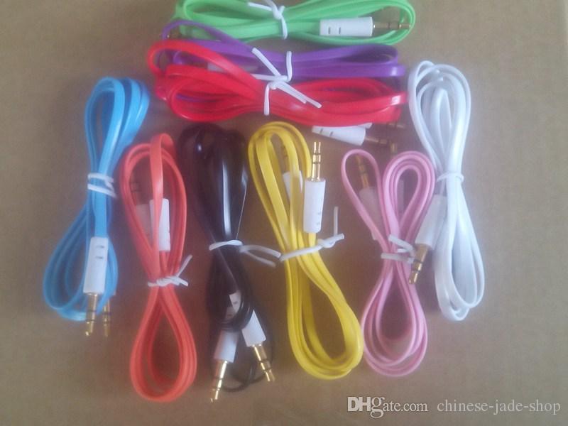 3,5 mm Stereo Audio AUX Kabel Wohnung Noodel draht Cords Jack Männlich zu Männlich 1 mt 3ft für handy Handy 1500 teile / los
