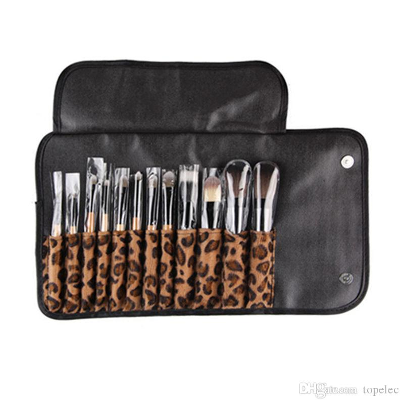 Woman Professional Brush Cosmetic Make Up Tool Set With Leopard Case Bag Kit Fashion Stock Ready