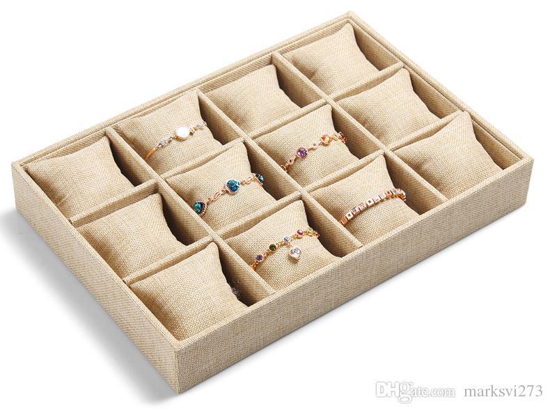 الراقية الكتان والمجوهرات مربع سوار ووتش علبة المجوهرات عرض موقف حامل بوتيك المجوهرات تخزين 12 شبكة علبة صغيرة وسادة