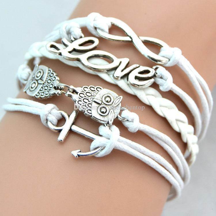 small order fashion Infinity Antique Charm Love Owl Anchor Charms Infinity leather bracelet Mix Colors Leather Bracelets Wraps bracelet