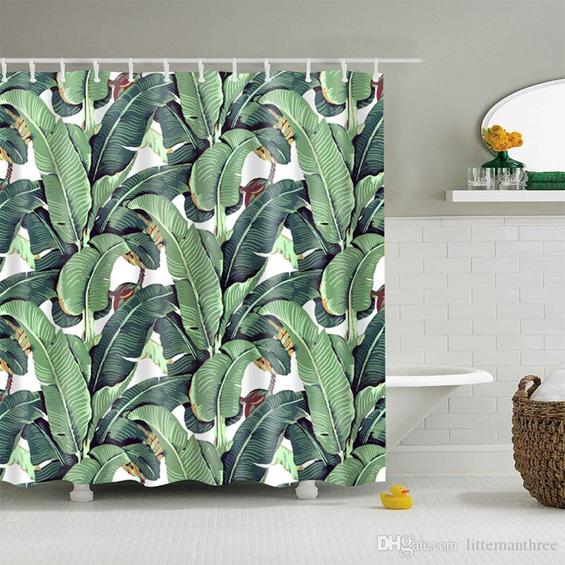 2019 Green Banana Leaf Shower Curtain Tropical Plants Printing Custom For Bathroom Waterproof Polyester From Littemanthree