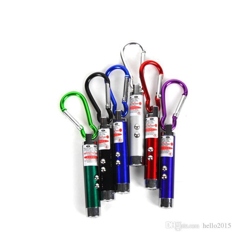 최고의 휴가는 카라비너 고리 열쇠 고리 미니 손전등 레드 레이저 포인터로 3 IN1 LED 미니 손전등 알루미늄 합금 토치 조명