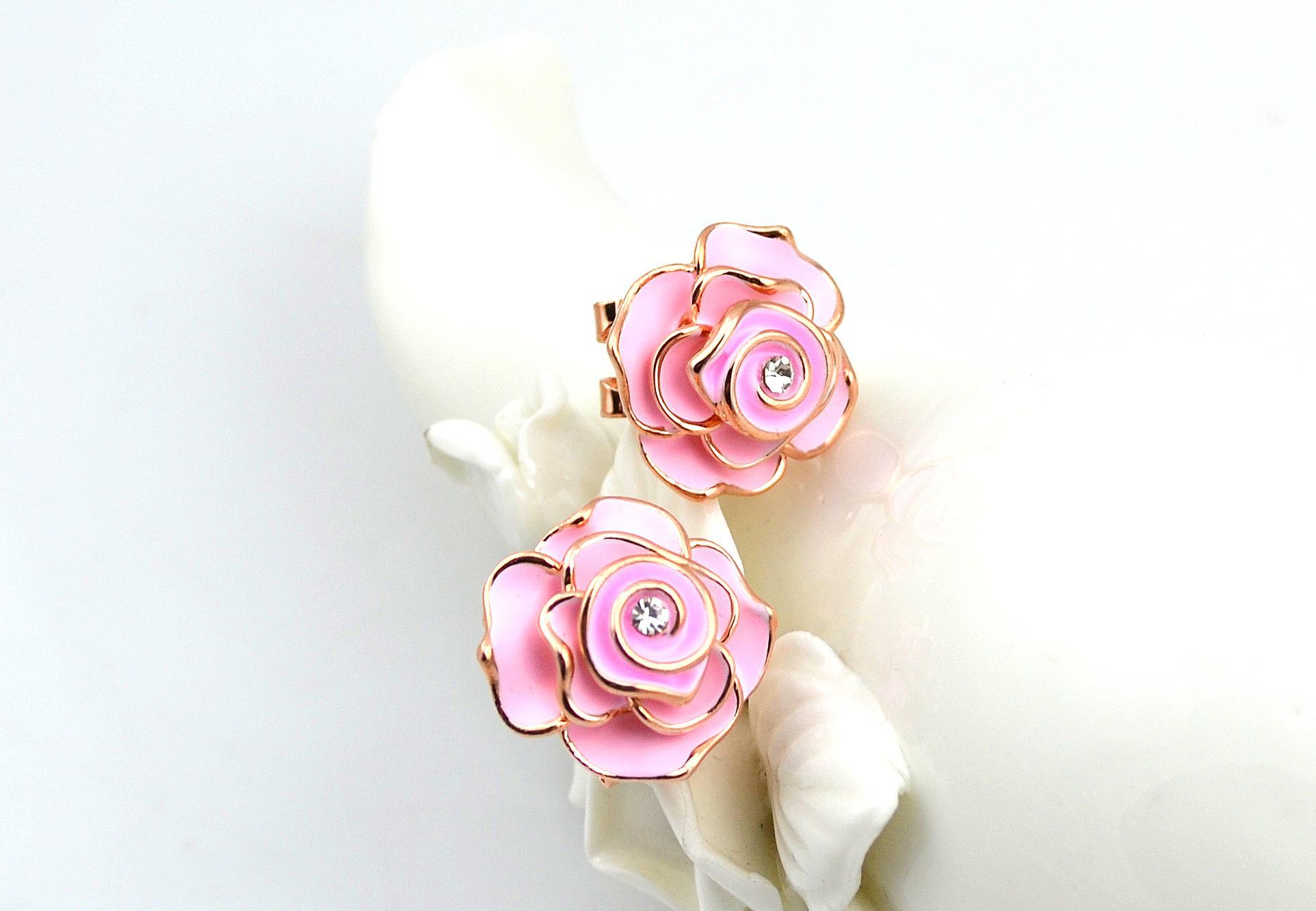 2018 Camellia Flower Pink Stud Rose Earring Korean Elegant Earring