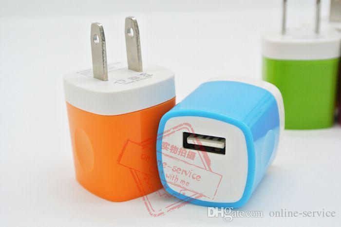 Hochwertige Candy Bunte Us-stecker USB Power Wand Home Reise Ladegerät Adapter Für iPhone 7/6/6 S Plus