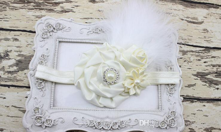 New Baby Rose Flower and Feather Headband for Girl Hair Accessories Baptism Baby Hair band Newborn princess Photo Prop YM6123
