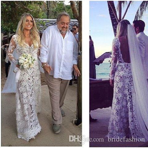 Backless Sexy White Lace Wedding Dresses Bateau Long Sleeve Mermaid Stunning Bridal Gowns Exquisite Plus Size Vestidos De Novia Cheap
