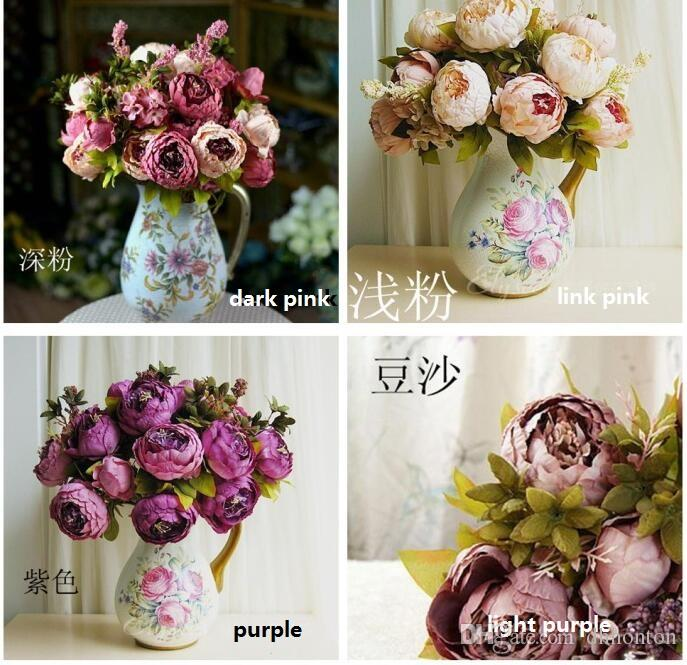 Artificial Peony Bunch 48cm/18.8 inch Silk Flowers Simulation European Peony Flower with Hydrangea Flower for Wedding Centerpieces Decor SP0