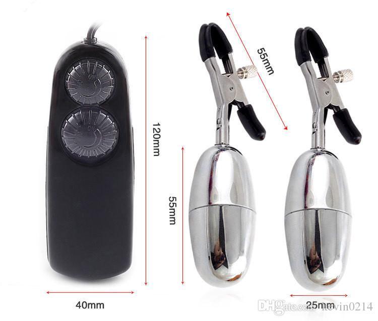 Abrazaderas para pezones Vibrador Bullet Nipple Labia clamp Stimulate Flirt Juguetes sexuales para mujeres Doble clip de vibración Pezón Vibrador Pechuga A7